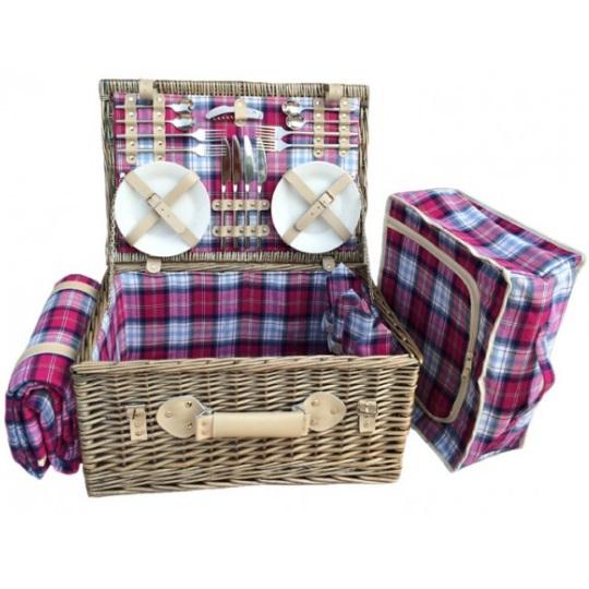 British Piknikový koš SANDWOOD BAY proutěný pro 4 osoby s dekou