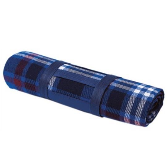 Pikniková deka s popruhem a PVC stranou - tmavě modrá kostkovaná