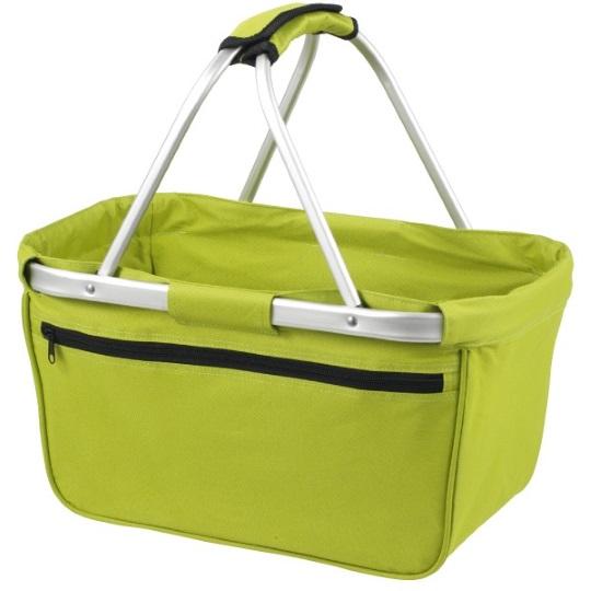 Skládací nákupní košík s kapsou - zelený