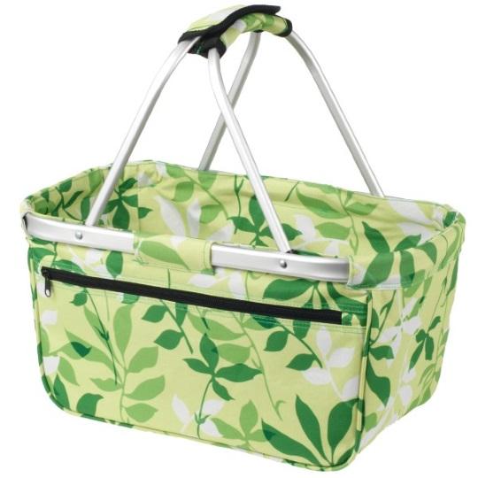Skládací nákupní košík s kapsou - listy
