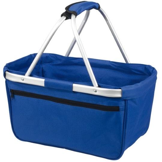 Skládací nákupní košík s kapsou - modrý