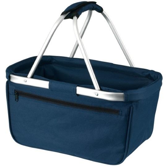Skládací nákupní košík s kapsou - tmavě modrý