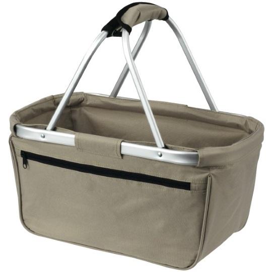 Skládací nákupní košík s kapsou - šedý