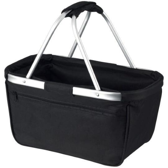 Skládací nákupní košík s kapsou - černý