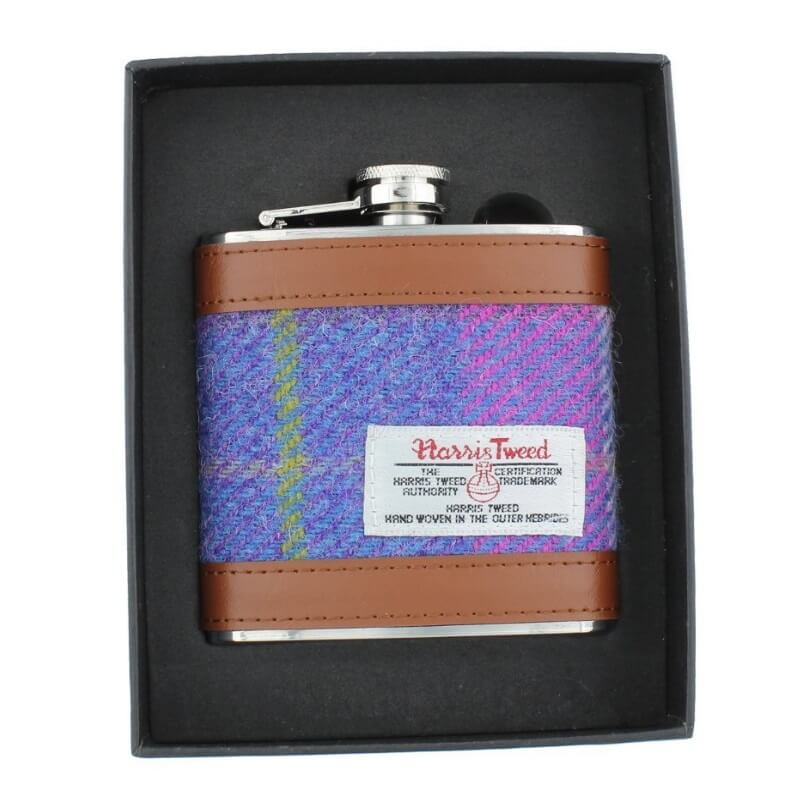 Placatka Harris Tweed 170ml - Purple Pink Tartan